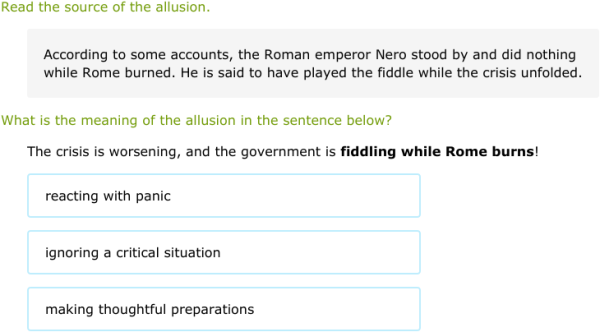 IXL - Interpret the meaning of allusions (Transition year